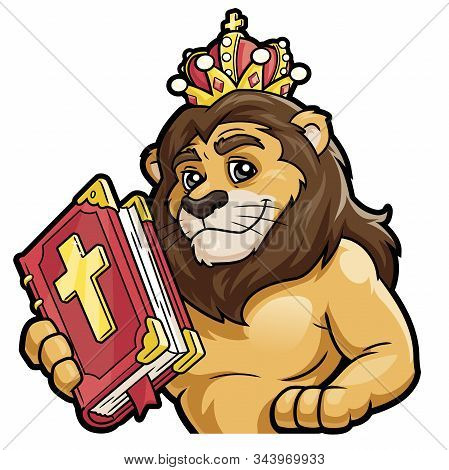 Illustration Of A Lion Holding The Bible On A White Background