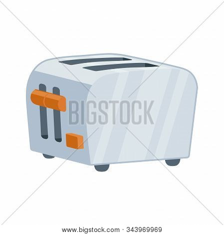 Illustration Of A Metal Toaster Icon On A White Background