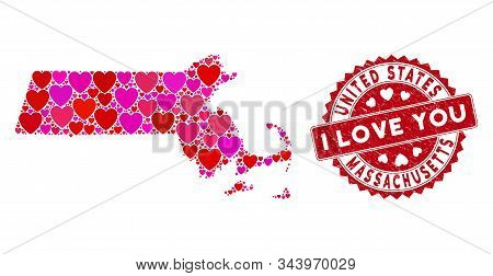 Love Collage Massachusetts State Map And Grunge Stamp Seal With I Love You Words. Massachusetts Stat