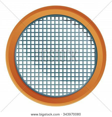 Top View Sieve Icon. Cartoon Of Top View Sieve Vector Icon For Web Design Isolated On White Backgrou