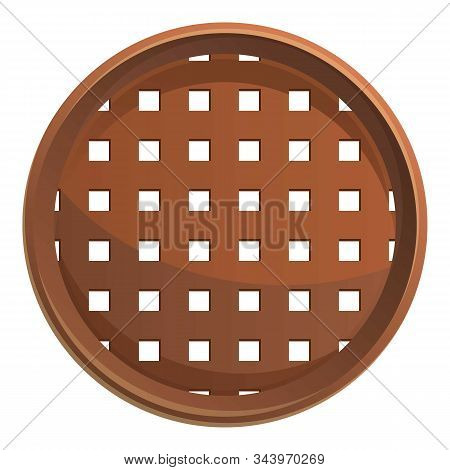 Wood Sieve Icon. Cartoon Of Wood Sieve Vector Icon For Web Design Isolated On White Background