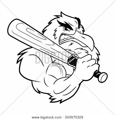 Illustration Of A Strong Seagull With Baseball Bat. Black And White Illustration