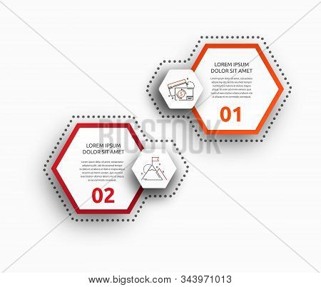 Vector Infographic With 2 Pentagons. Used For Two Diagrams, Graph, Flowchart, Timeline, Marketing, P