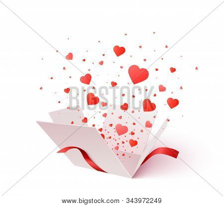Open Gift Box With Heart Shape Confetti Burst Explosion. 3d Vector Valentines Day Concept. Romantic