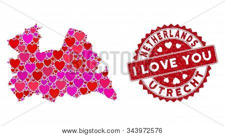 Valentine Collage Utrecht Province Map And Rubber Stamp Seal With I Love You Message. Utrecht Provin