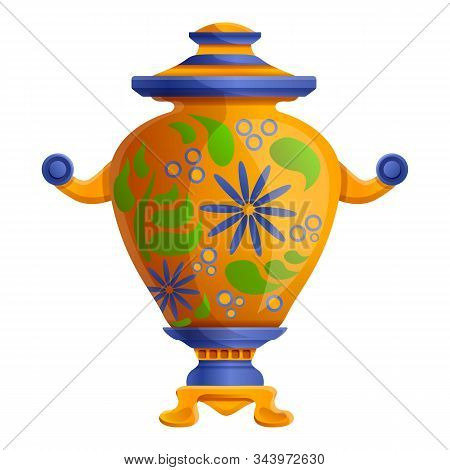 Traditional Samovar Icon. Cartoon Of Traditional Samovar Vector Icon For Web Design Isolated On Whit