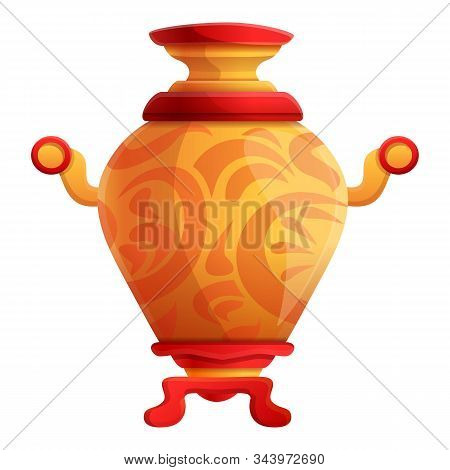 Ornamental Samovar Icon. Cartoon Of Ornamental Samovar Vector Icon For Web Design Isolated On White