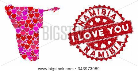 Valentine Collage Namibia Map And Grunge Stamp Seal With I Love You Badge. Namibia Map Collage Desig