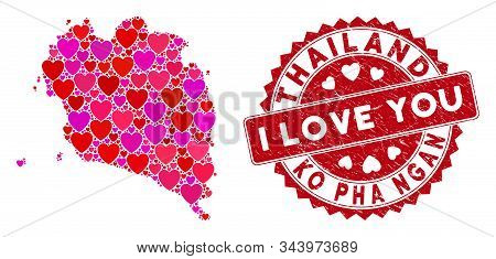 Love Collage Ko Pha Ngan Map And Corroded Stamp Watermark With I Love You Message. Ko Pha Ngan Map C