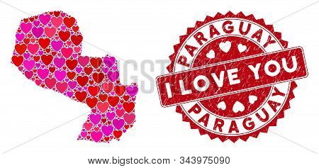 Valentine Collage Paraguay Map And Grunge Stamp Seal With I Love You Text. Paraguay Map Collage Crea