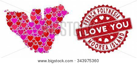Valentine Mosaic Moorea Island Map And Corroded Stamp Seal With I Love You Text. Moorea Island Map C