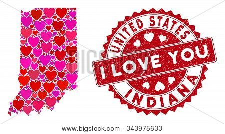 Lovely Collage Indiana State Map And Distressed Stamp Seal With I Love You Message. Indiana State Ma