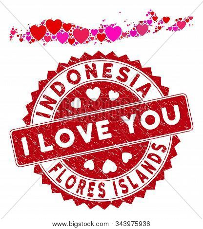 Valentine Collage Flores Islands Of Indonesia Map And Grunge Stamp Seal With I Love You Badge. Flore