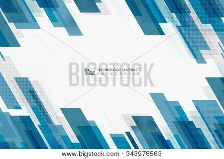 Abstract Technology Of Blue Line Template Overlap Design Decorative Background With Halftone Pattern