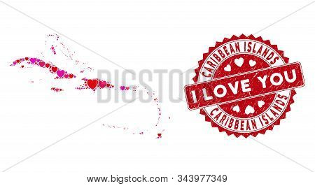 Love Collage Caribbean Islands Map And Corroded Stamp Watermark With I Love You Phrase. Caribbean Is