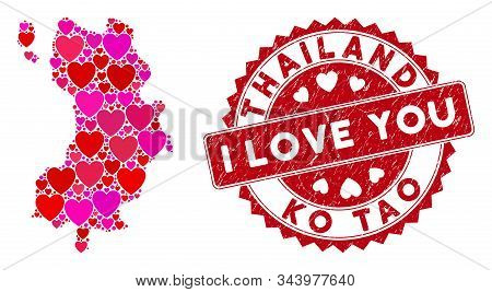 Love Collage Ko Tao Map And Rubber Stamp Seal With I Love You Words. Ko Tao Map Collage Composed Wit