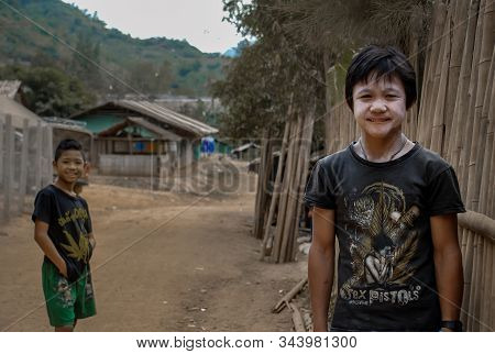 Mae Hong Son, Thailand - Jan 22, 2010 : Refugee People, Two Refugee Boys In Temporary Shelter At Ref