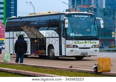Voronezh, Russia - December, 31, 2019: image of a intercity bus at a station in Voronezh