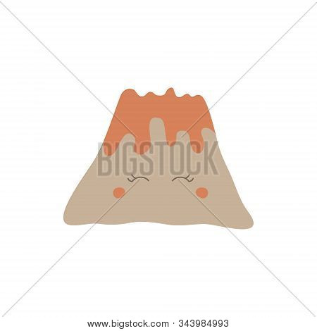 Prehistoric Cute Volcano With Lava Vector Illustration. Hand Drawn Volcanic Eruption. Isolated.