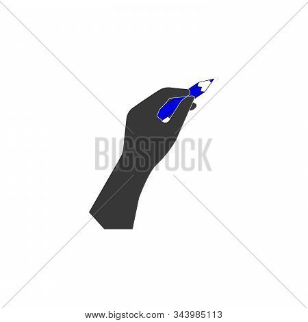 Hand With Pencil Vector Icon - Black Illustration. Stock Vector Illustration Isolated On White Backg
