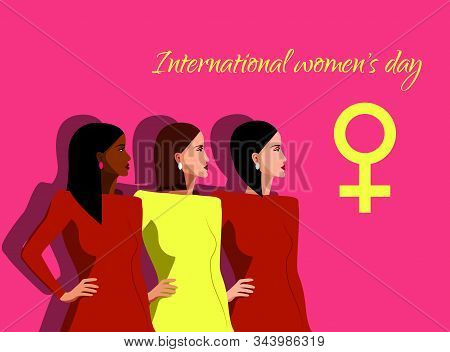 International Womens Day. Vector illustration with with different women. 8 march, womans day, womens day background, women's day banners, women's day flyer, women's day design, women's day with flowers on red background, Copy space text area, vector illus