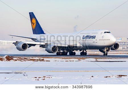 Frankfurt / Germany - December 8, 2012: Lufthansa Boeing 747-8 D-abyf Passenger Plane Departure At F