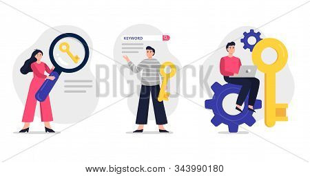 Set Of Cute Illustration On Search Engine Optimization Theme. Web Developers Team Search For Keyword