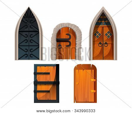 Old Medieval Doors And Gates For Castle, Church And Village. Vector Cartoon Set Of Wooden, Stone And