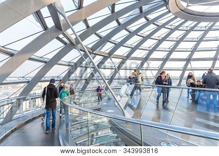 Berlin, Germany - November 23, 2019: Interior Of The Reichstag Dome. People Visit The Reichstag Dome