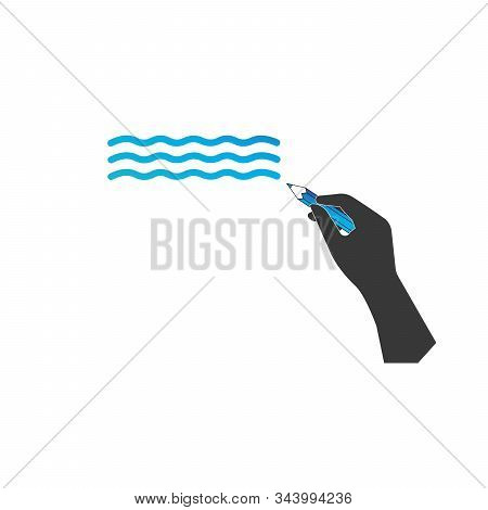 Hand Writing Icon. Hand With Blue Pencil Drawing Wave. Stock Vector Illustration Isolated On White B