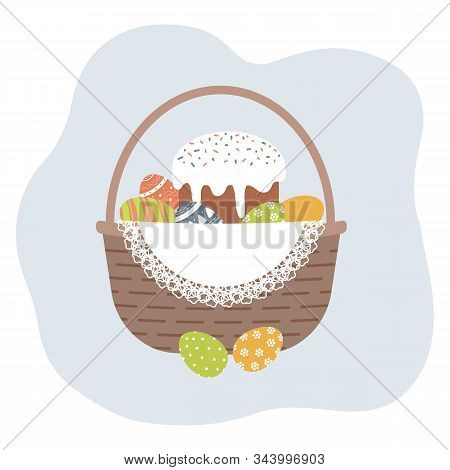 Easter Basket With Cute Decorated Easter Eggs And Kulich On White Openwork Vintage Doily. Collection