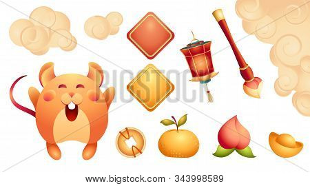 Stock Illustration Of Spring Festival Collection, Isolated. Set Elements For Happy Chinese New Year: