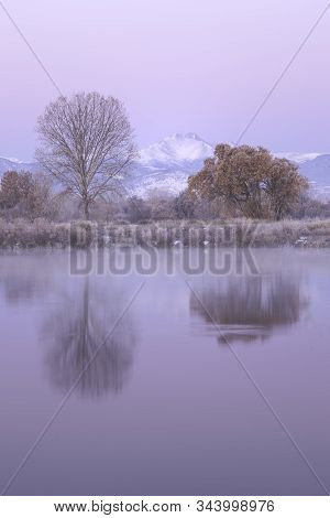 Snow Capped Longs Peak Reflection