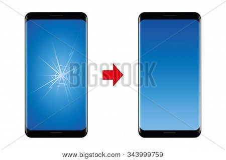 Mobile Phone Repair Service Broken And Repaired Display Vector Illustration Eps10