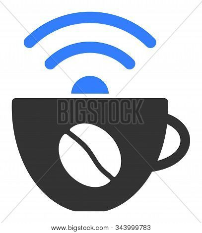 Coffee Wifi Source Vector Icon. Flat Coffee Wifi Source Pictogram Is Isolated On A White Background.