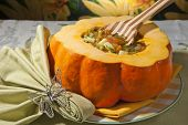 rustic soup with mixed vegetables and pumpkin poster