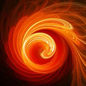 abstract fire spiral rays on dark background poster
