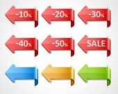 Vector arrow sale stickers set. 10, 20, 30, 40, 50 percent sale. Transparent shadow easy replace background and edit colors. poster