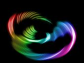 abstract rainbow neon waves on black background poster