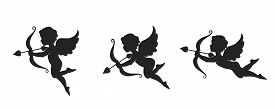 Cute Cupid Icon Set. Love, Wedding And Valentines Symbol. Cupid With Bow And Arrow. Isolated Vector