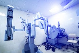Modern Surgical Robot. Doctor Performs Minimally Invasive Surgeon Using A Robotic Device. Minimal In