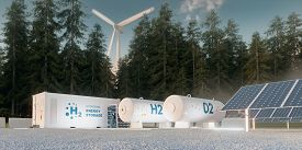 Concept Of Hydrogen Energy Storage From Renewable Sources - Wind Turbines And Photovoltaics. 3d Rend