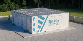 Concept Of Energy Storage Unit Consisting Of Multiple Conected Containers With Batteries. 3d Redneri