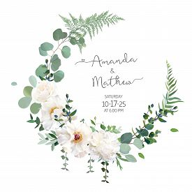 Greenery And White Peony, Rose Flowers Vector Design Round Invitation Frame. Rustic Wedding Greenery