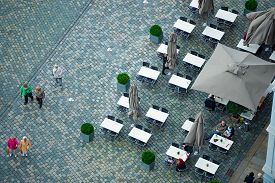 Dresden, Germany - September 22, 2014: Top Down View On Street Of Dresden, State Of Saxony, Germany,