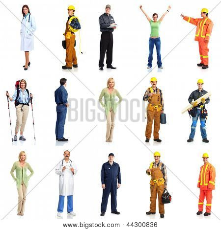 Group of workers people set. Isolated on white background.