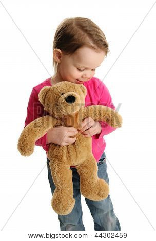 Sweet Little Girl Holding A Teddy Bear