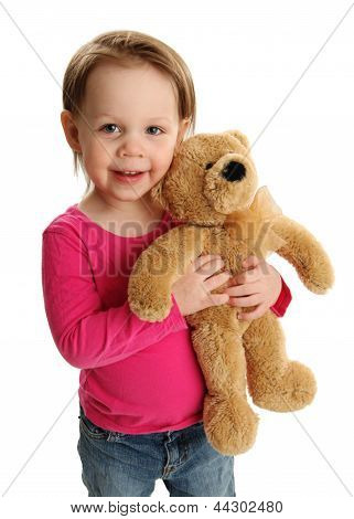 Smiling Girl Holding Teddy Bear