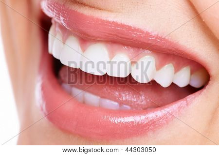 Beautiful woman smile. Dental health care clinic. poster