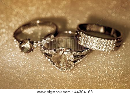 Golden Jewelry Accessories - Rings With Brilliants
